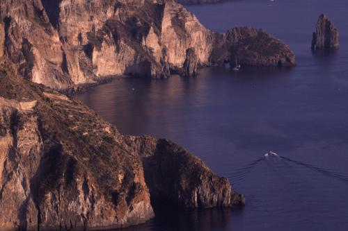 Eolie Island, Sicily: the coast of Lipari with its blue waters
