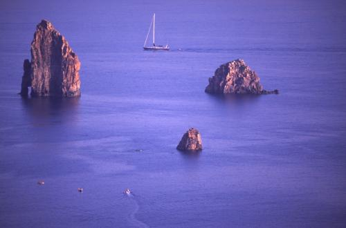 Eolie Island, Sicily:  Lipari - blue waters at the Faraglioni