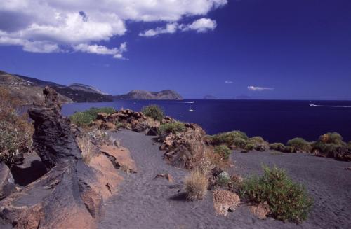 "Eolie Island, Sicily, Italy: Vulcano - ""Valle dei Mostri"" black beach"